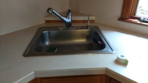 Typhoon Bordeaux granite countertop replacement before